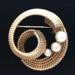 Swirl Brooch Gold Tone with Cascading Faux Pearls